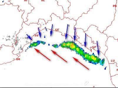 Temporali nati dalla convergenza della fresca brezza di terra (vettori blu) e dal debole scirocco in risalita dal Tirreno (vettori rossi).